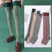 Fashion Mixed Color Over-the-knee Knit Stockings