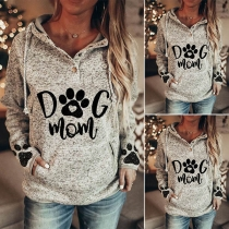Casual Style Long Sleeve Hooded Printed Sweatshirt
