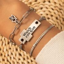 Retro Style Letters Engraved Bracelet Set 3 pcs/Set
