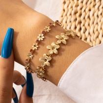 Fashion Rhinestone Inlaid Flower Bracelet Set 2 pcs/Set