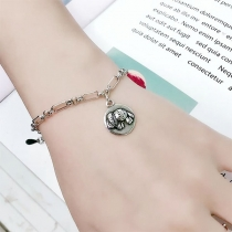 Retro Style Elephant Pendant Silver-tone Necklace