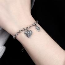 Retro Style Heart Pendant Silver-tone Bracelet