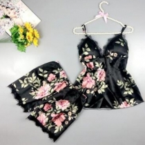 Sexy Backless V-neck Lace Spliced Sling Printed Top + Shorts Nightwear Set