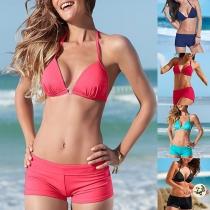 Sexy Solid Color Low-waist Halter Bikini Set