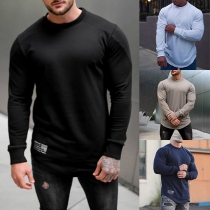 Simple Style Long Sleeve Round Neck Solid Color Man's Sports T-shirt