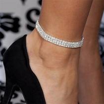 Fashion Rhinestone Inlaid Three-row Alloy Anklet