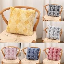 Fashion Contrast Color Plaid Plush Pillow Case