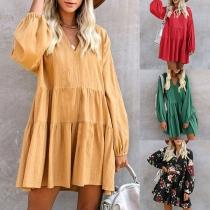 Fashion Lantern Sleeve V-neck Solid Color Loose Dress