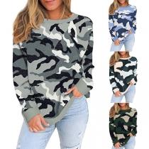Fashion Long Sleeve Round Neck Camouflage Printed T-shirt