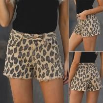 Fashion High Waist Frayed Hem Leopard Printed Shorts