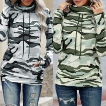 Fashion Camouflage Printed Long Sleeve Hooded Sweatshirt