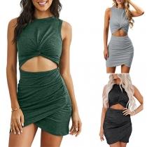 Sexy Hollow Out High Waist Sleeveless Irregular Hem Slim Fit Dress