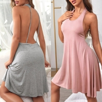 Sexy Backless Solid Color Sleeveless Halter Dress