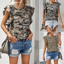 Fashion Lotus Sleeve Round Neck Tie-dye Printed T-shirt