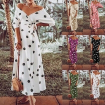 Sexy V-neck Long Sleeve Dots Printed Dress