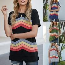 Fashion Wavy-stripe Printed Short Sleeve Round Neck T-shirt