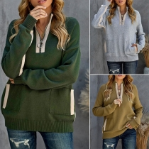 Fashion Contrast Color Long Sleeve Stand Collar Knit Top