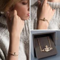 Fashion Rhinestone Inlaid Planet Pendant Bracelet