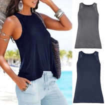Fashion Solid Color Round Neck Lace Spliced Tank Top