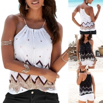 Sexy Off-shoulder Printed Sling Top