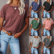 Simple Style Short Sleeve Round Neck Solid Color T-shirt