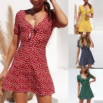 Sweet Style Short Sleeve V-neck Printed Dress