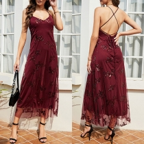 Sexy Backless V-neck Sequin Spliced Sling Party Dress