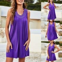Sexy Backless Sleeveless V-neck Rhinestone Spliced Halter Dress
