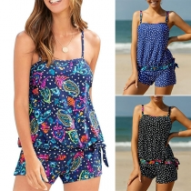 Sexy Backless Printed Sling Top + Shorts Swimsuit Set