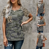 Fashion Leopard Spliced Short Sleeve Round Neck Camouflage Printed T-shirt