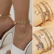 Fashion Hollow Out Butterfly Pendant Multi-layer Anklet