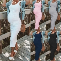 Simple Style Sleeveless Round Neck Solid Color Maternity Dress