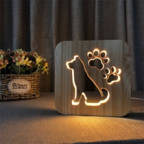 Creative Style Cute Dog Shaped Wooded Night Lamp