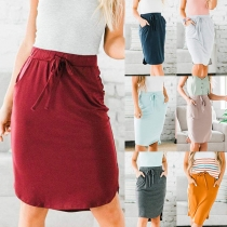 Simple Style Drawstring High Waist Solid Color Skirt