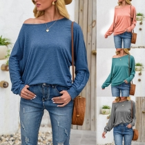 Simple Style Dolman Sleeve Round Neck Solid Color Loose T-shirt