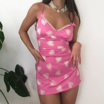 Sexy Backless V-neck Heart Printed Slim Fit Sling Dress