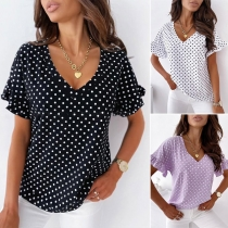 Casual Style Lotus Sleeve V-neck Dots Printed Top