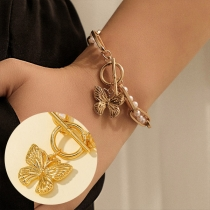 Fashion Pearl Inlaid Butterfly Pendant Gold-tone Alloy Bracelet