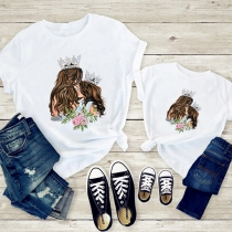 Simple Style Short Sleeve Round Neck Mom&Daughter Printed Parent-child T-shirt