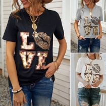 Casual Style Leopard Spliced Letters Printed Short Sleeve Round Neck T-shirt