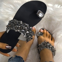 Fashion Flat Heel Rhinestone Inlaid Outdoor Slippers