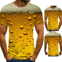 Casual Style 3D Air Bubbles Printed Short Sleeve Round Neck Man's T-shirt