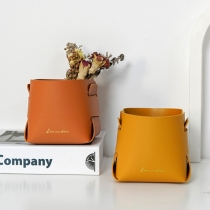 Simple Style Solid Color PU Leather Sundry Storage Basket