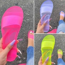 Casual Style Candy Color Jelly Slippers