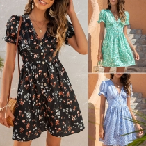 Sweet Style Short Sleeve V-neck High Waist Single-breasted Printed Dress