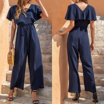 Sexy V-neck Short Sleeve High Waist Solid Color Jumpsuit