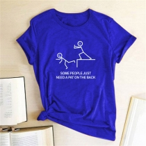 Casual Style Short Sleeve Round Neck Stick Figure Printed T-shirt