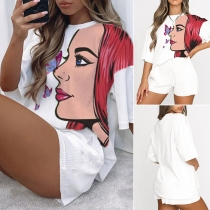 Casual Style Girl Printed Half Sleeve Round Neck T-shirt + Shorts Two-piece Set
