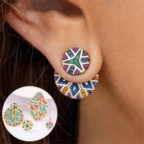 Bohemian Style Rhinestone Inlaid Asymmetric Round-shape Stud Earrings
