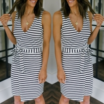 Sexy V-neck Sleeveless Lace-up High Waist Stripe Dress